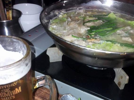 もつ鍋と生ビール